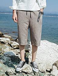 Masculino Simples Cintura Média Inelástico Chinos Calças,Reto Sólido