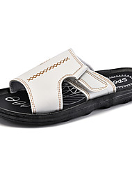 Men's Slippers & Flip-Flops Comfort Summer Leatherette Casual White Black Brown Flat