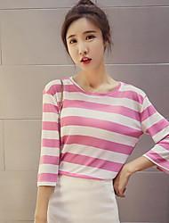 Damen Gestreift Einfach Alltag Normal T-shirt,Rundhalsausschnitt 3/4 Ärmel Baumwolle