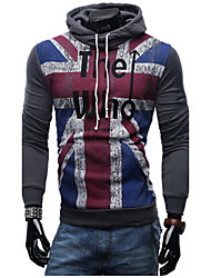 Men's Sports Casual/Daily Hoodie Flag Hooded strenchy Cotton Long Sleeve Spring Fall Winter