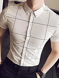 Men's Daily Casual Simple Shirt,Plaid/Check Shirt Collar Short Sleeve Cotton