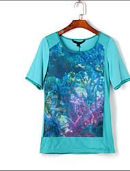 Damen Einfarbig Einfach Normal T-shirt,Rundhalsausschnitt Sommer Kurzarm Baumwolle Mittel