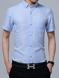 Для мужчин Для вечеринок День рождения Вечерние Повседневные На каждый день Офис Лето Рубашка Рубашечный воротник,Простое Уличный стиль