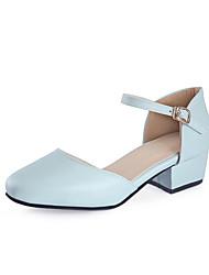 Damen High Heels Pumps PU Sommer Hochzeit Kleid Party & Festivität Pumps Schnalle Blockabsatz Weiß Purpur Blau Rosa Unter 2,5 cm