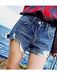 Women's High Waist Inelastic Shorts Pants,Simple Relaxed Solid
