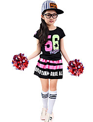 Cheerleader Costumes Outfits Kid's Performance Polyster Pattern/Print 2 Pieces Short Sleeve High Skirts Tops