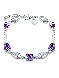 Exquisite Silver Plated Five Purple Crystal Chain & Link Bracelets Jewellery for Women Accessiories
