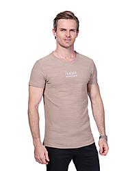 Masculino Camiseta Casual Tamanhos Grandes Simples Verão,Letra 100% algodão Decote Redondo Manga Curta Média