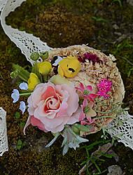 """Fleurs de mariage Petit bouquet de fleurs au poignet Cérémonie de mariage Taffetas Fleur séchée 3.15""""(Env.8cm)"""