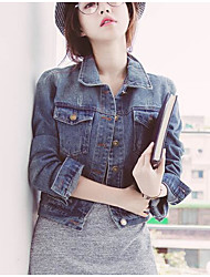Women's Daily Modern/Comtemporary Spring Denim Jacket,Solid Shirt Collar Long Sleeve Short Polyester Others