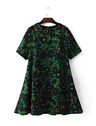 Feminino Solto Vestido,Para Noite Casual Simples Moda de Rua Estampado Decote Redondo Altura dos Joelhos Manga Curta Seda Verão Outono