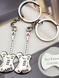 Material Keychain Favors-6 Pairs/Set Music Guitar key Ring  Favors Personalized Silver