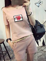 Mujer Simple Casual Verano T-Shirt Pantalón Trajes,Escote Redondo Patrón Manga Corta Microelástico