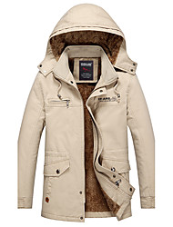 Men's Casual/Daily Vintage Winter Jacket,Solid Hooded Long Sleeve Regular Cotton