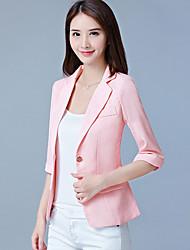 Women's Office & Career Formal Work Spring/Fall Summer Jacket,Solid V Neck 3/4 Length Sleeve Short Polyester