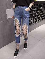 Women's Mid Rise Micro-elastic Wide Leg Jeans Pants,Simple Relaxed Solid