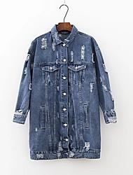 Для женщин Спорт На выход Весна Осень Джинсовая куртка Рубашечный воротник,Простой Геометрический принт С принтом Обычная Длинный рукав,