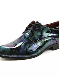 Unisex Shoes Patent Leather Fall Winter Formal Shoes Oxfords For Dress Party & Evening Green