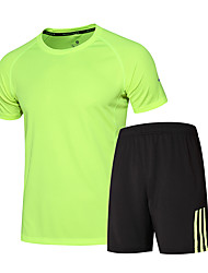 Men's Running T-Shirt with Shorts Short Sleeves Quick Dry Breathable Running Clothing Suits for Running/Jogging Exercise & Fitness Loose