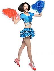 Costumes de Pom-Pom Girl Tenue Femme Spectacle Acrylique Plissé Fantaisie 2 Pièces Manche courte Taille haute Jupes Hauts