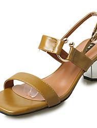 Women's Sandals Summer PU Walking Shoes Split Joint Low Heel White Black Beige Brown 3in-3 3/4in