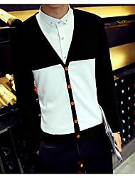 Standard Cardigan Da uomo-Quotidiano Casual Semplice Monocolore A V Manica lunga Cotone Maglia Primavera Autunno Medio spessoreMedia