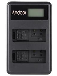 Andoer® en-el14 en-el14a cargador de baterías Li-ion recargable paquete de pantalla led 2 ranuras usb cable kit para nikon d3100 d3200