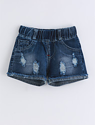 Girls' Solid Color Jeans-Cotton Summer