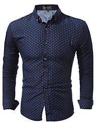 Men's Shirts 2017 Dress Shirts Mens Polka Dot Shirt Slim Fit Male Shirts Long sleeve Men Shirt Heren Hemden Slim XXL