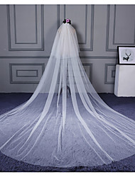 Véus de Noiva Duas Camadas Véu Cotovelo Véu Catedral Corte da borda Tule