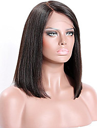 Premier ®New Style Human Hair Light Yaki Glueless Short Bob Haircut Front Lace Wig With Bang 100% Brazilian Virgin Human Hair Wigs for Women