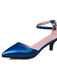 Women's Sandals Basic Pump PU Summer Wedding Party & Evening Dress Basic Pump Buckle Low Heel Blue Green Ruby 1in-1 3/4in