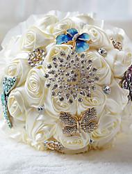 Fleurs de mariage Bouquets Cérémonie de mariage Mousseline de soie Perle Env.24cm