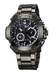 ASJ Homens Relógio Esportivo Colar com Relógio Quartzo Impermeável Mostrador Grande Lega Banda Casual Relógios com Palavras Preta