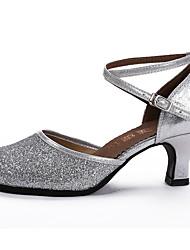 Women's Dance Shoes Sparkling Glitter Paillette Sparkling Glitter Paillette Latin Sandals Stiletto HeelPractice Beginner