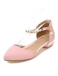 Damen Sandalen Pumps PU Sommer Normal Kleid Pumps Ausgehöhlt Flacher Absatz Weiß Schwarz Rosa Flach