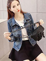 Для женщин Повседневные Весна Джинсовая куртка Рубашечный воротник,Современный Однотонный Обычная Длинный рукав,Другое