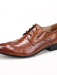 Для мужчин обувь Кожа Весна Осень Формальная обувь Свадебная обувь Назначение Свадьба Для вечеринки / ужина Черный Коричневый Вино