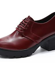 Damen High Heels Pumps PU Sommer Normal Kleid Walking Pumps Schnürsenkel Block Ferse Schwarz Rot 12 cm & mehr