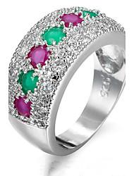 Per donna Struttura dell'anello Fedine Anello Zircone cubico StrassClassico Originale Strass Geometrico Amicizia Adorabile Personalizzato