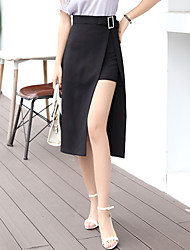 Women's Work Going out Midi Skirts Sexy Fashion Slim A Line Split Patchwork Solid Summer Fall Black High Waist