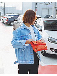 Women's Daily Casual Fall/Autumn Denim Jacket,Solid Shirt Collar Long Sleeve Short Cotton