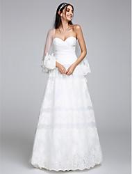 Linha A Decote Princesa Longo Organza Tule Vestido de casamento com Renda Cruzado de LAN TING BRIDE®