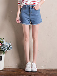 Women's High Rise Inelastic Jeans Shorts Pants,Simple Wide Leg Solid