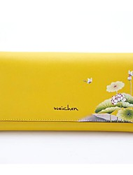 Women Coin Purse Other Leather Type All Seasons Rectangle Pattern / Print Magnetic Yellow Red Blue