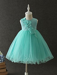 Ball Gown Short/Mini Flower Girl Dress - Organza Jewel with Applique Lace Pearl Detailing Tiered Ruched Zipper