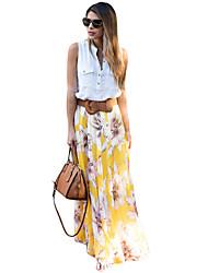 Mujer Adorable Noche Vacaciones Maxi Faldas,Lápices Plisado Verano Estampado