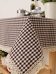 Korean Style Lattice Cotton And Linen Table Cloths 60*60cm