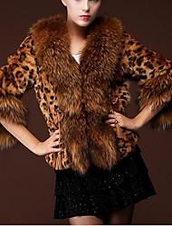 Для женщин На каждый день Зима Пальто с мехом Воротник Питер Пен,Гламур Леопард Короткая Полиуретановая