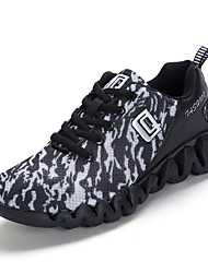 Unisex Sneakers Comfort Spring Fall Breathable Mesh Tulle Fabric Walking Shoes Casual Outdoor Office & Career Zipper Flat Heel Black